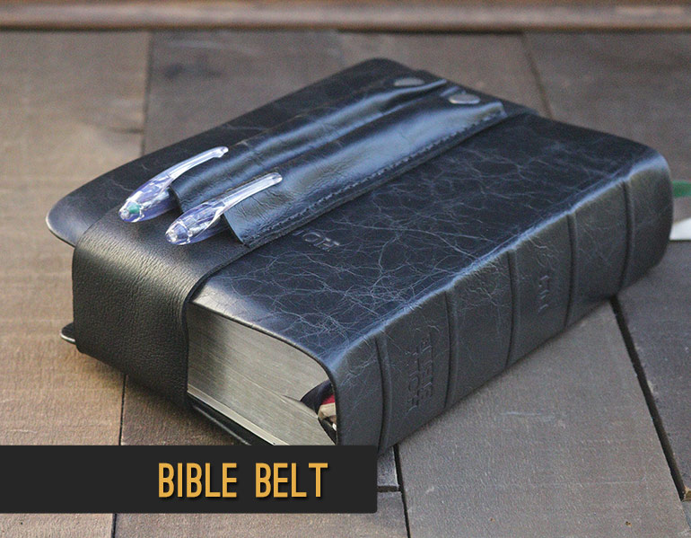 Add a matching leather pen holder to your Bible rebind