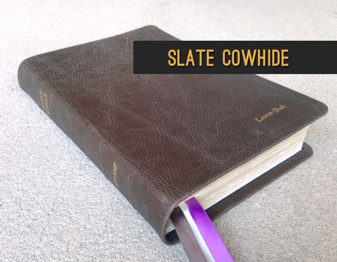 Slate Cowhide Leather Bible