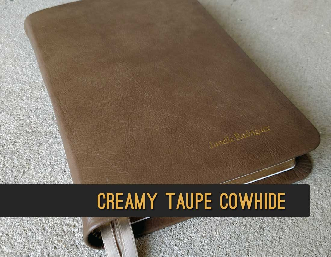 Creamy Taupe Cowhide Leather Bible