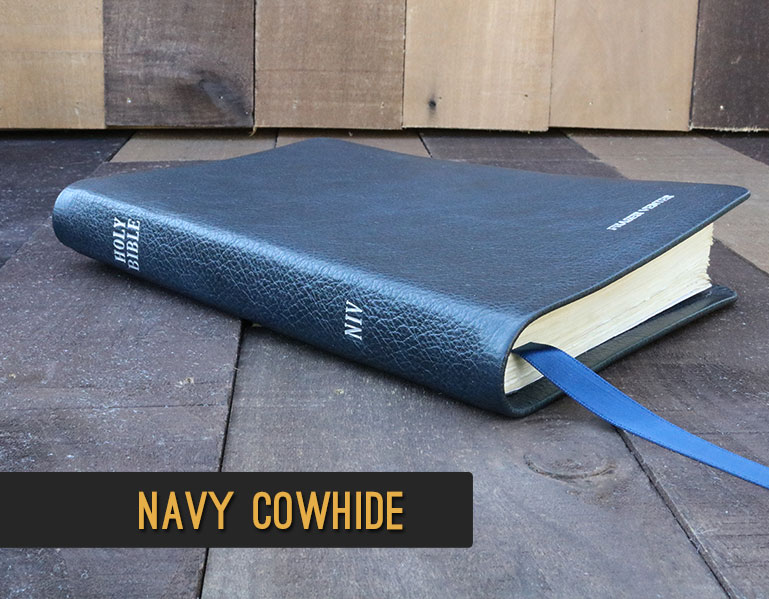 Rebind Your Bible In Navy Cowhide Leather