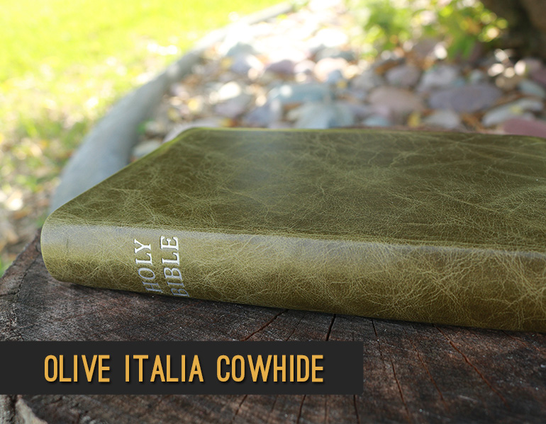 Repair and rebind your Bible in Olive Italia Cowhide Leather