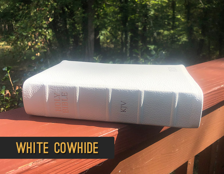 Repair and Recover your Bible in White Cowhide Leather
