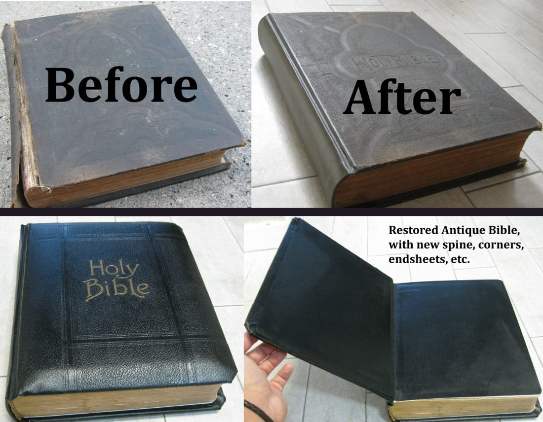 Repair Old Book Cover ~ Aaleather antique bible restoration