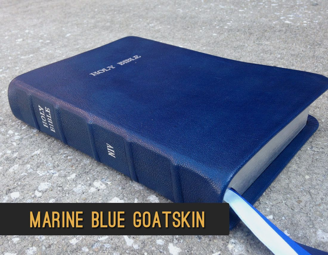 Hand-Dyed Marine Blue Goatskin Leather Bible