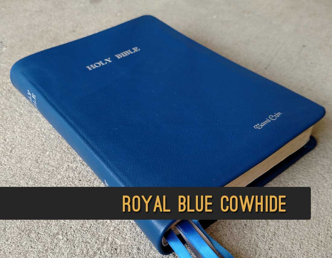 Royal Blue Cowhide Leather Bible