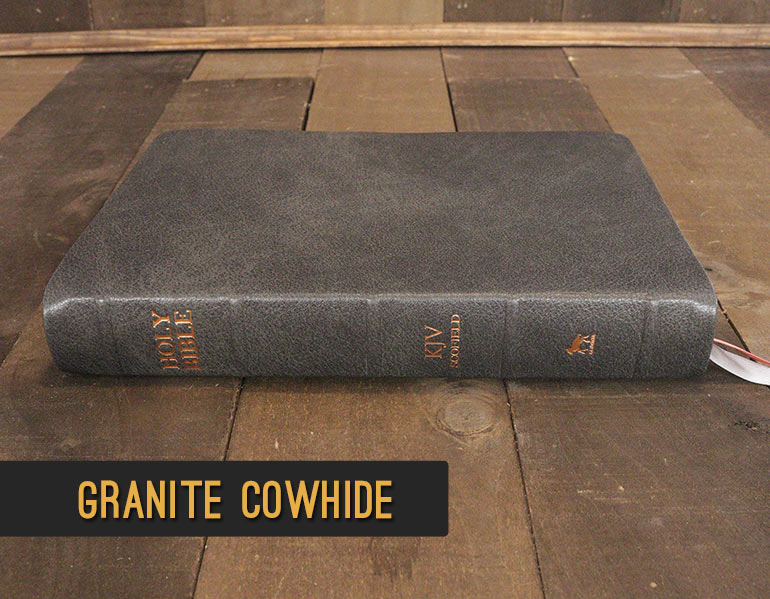Repair and recover your Bible in Gray Granite Cowhide Leather