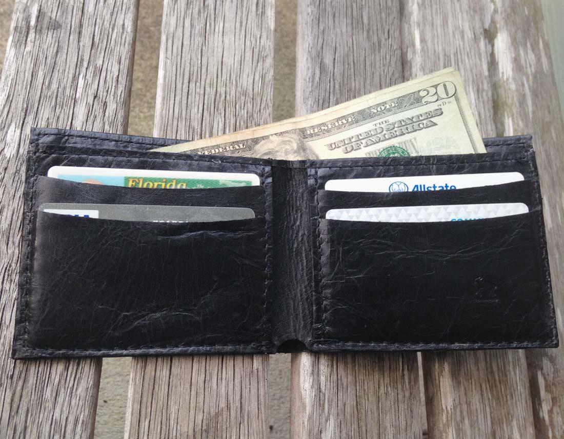 Black Italia Cowhide Leather Wallet