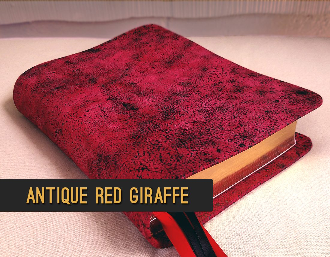 Antique Red Giraffe Leather | Rebind your bible in genuine exotic leather | Jacksonville, FL