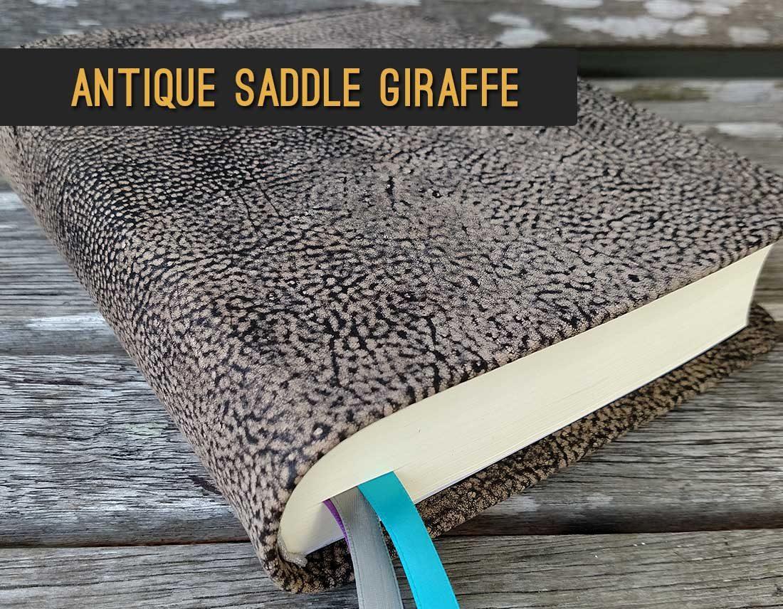 Antique Saddle Giraffe Leather Bible