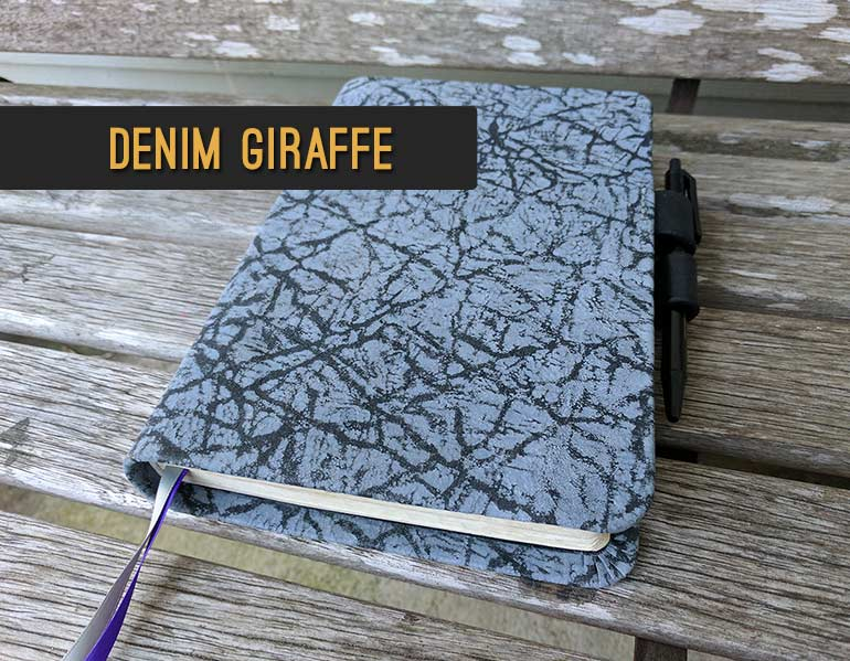 Repair and Recover Your Bible In Denim Blue Giraffe Leather