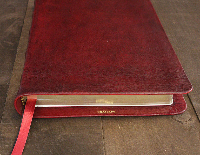 Genuine Leather Bibles For Sale - Hand-Dyed Antique Red Goatskin Leather Bible