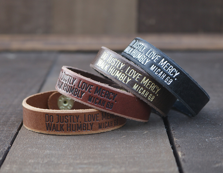 Do Justly Love Mercy Walk Humbly Genuine Leather Bracelets