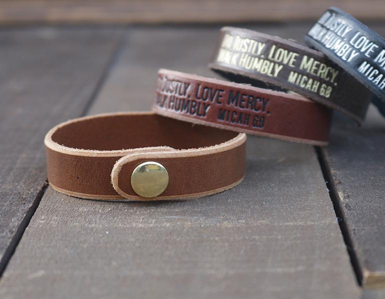 Do Justly Love Mercy Walk Humbly Genuine Leather Bracelets