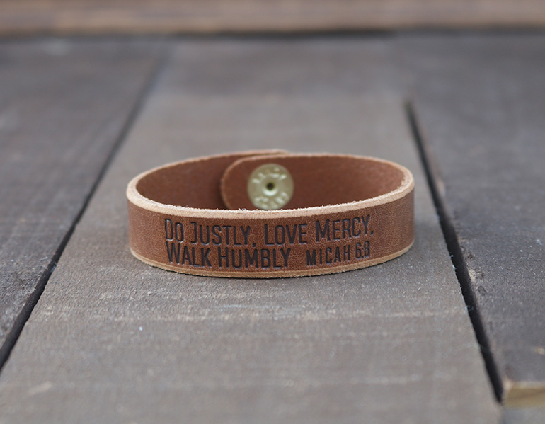 Do Justly Love Mercy Walk Humbly Genuine Leather Bracelet