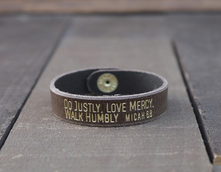 Do Justly Love Mercy Walk Humbly Genuine Leather Bracelet