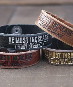 He Must Increase I Must Decrease Genuine Leather Bracelets