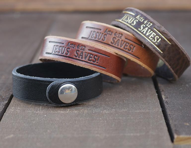 Jesus Saves Genuine Leather Bracelets