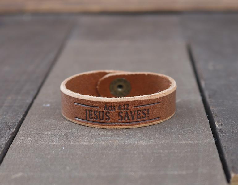 Jesus Saves Genuine Leather Bracelet