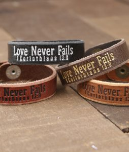 Love Never Fails Genuine Leather Bracelets