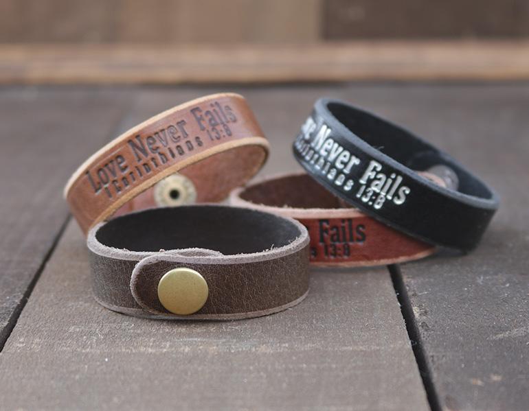 Love Never Fails Genuine Leather Bracelets