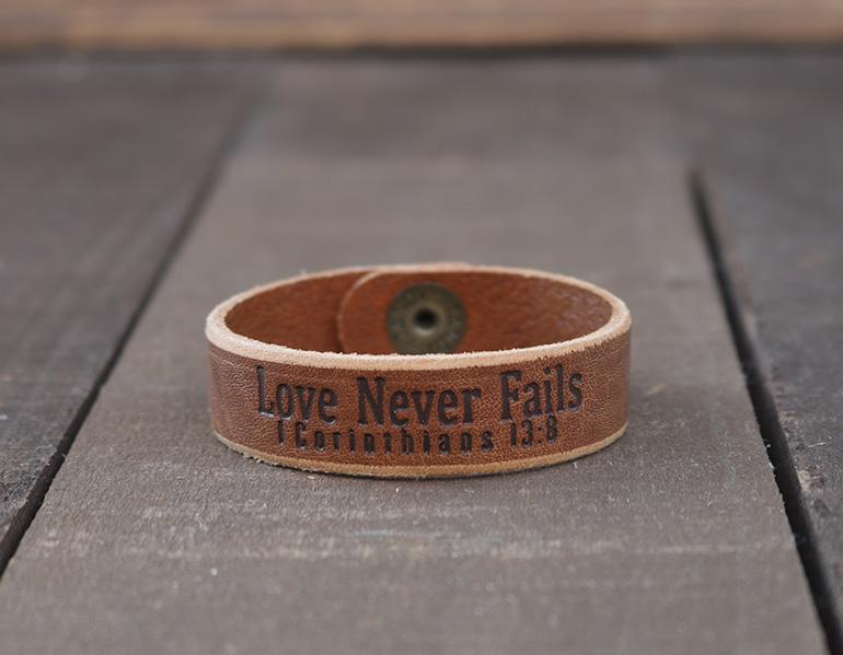 Love Never Fails Genuine Leather Bracelet