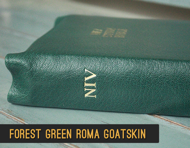 Repair and Recover your Bible in Forest Green Roma Goatskin Leather